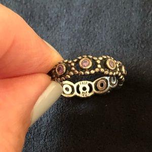 """Pandora """"Retired"""" Her Majesty Purple CZ Ring sz 7"""